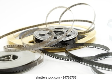 Film reels isolated on white background