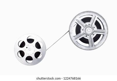 film reels on white background