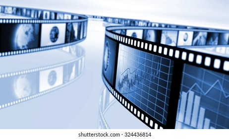 Film reels with stock market concepts. 3D rendering