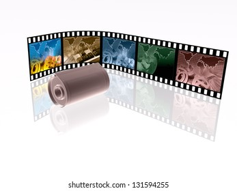Film roll with color pictures (communication) on white.