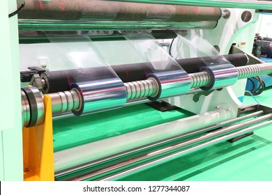 Film Roll slitting machine ; a shearing operation that cuts a large roll of material into narrower rolls