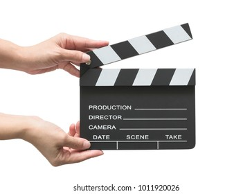 Film slate board cinema act clapperboard on woman's hand with take, action, scence blank copyspace isolated on white background (clipping path) for cinema movie production and video camera director