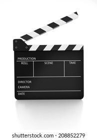 Film Slate isolated on white with reflection