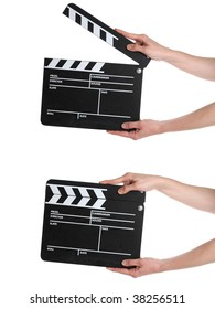 A Film Slate isolated on a white background