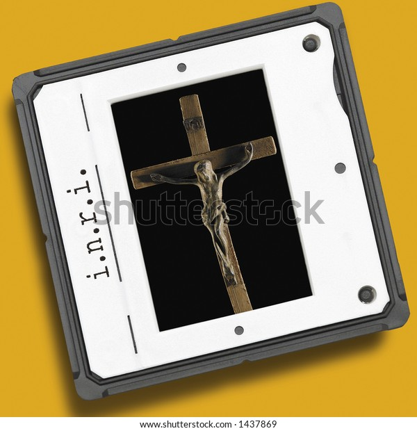 film slide with crucifixion