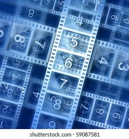 Film strip background. Hi-resolution illustration. Movie theme.