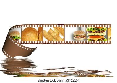 Film strip with hamburger