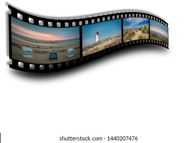 Film strip with pictures of the North Sea island Sylt in Germany