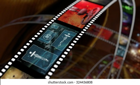 Film strip with science fiction based concepts. 3D rendering
