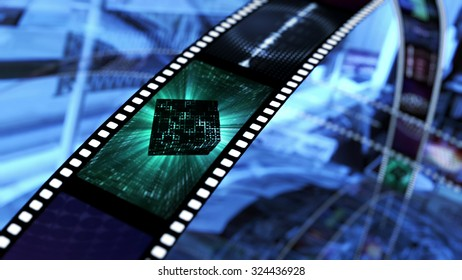 Film strip with space sci fi. 3D rendering