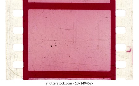 Film strip template with frames, empty color positive 135 type (35mm) with scratches and cracks isolated on white background with work path.