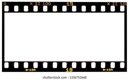 film strip template with panoramic frame, empty  135 type (35mm) in negative or positive isolated on white background with work path.