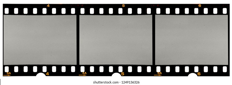 Film strip template with three blank or empty frames, developed 135 type or 35mm film placeholder on white, real film grain