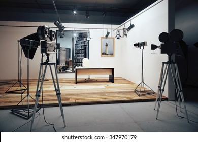 Film studio with cameras and movie equipment 3D Render