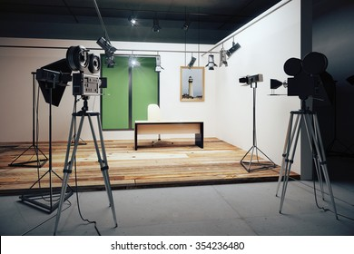 Film studio office decorations with vintage movie cameras 3D Render