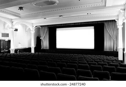 Film theatre interior - stylish cinema setting to watch great movies