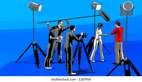 a film or video set with lights a camera a director