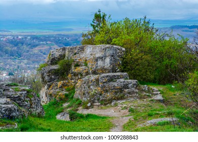 Filmed in the spring in the city of Pyatigorsk, on mount Mashuk. Photo of rocks with panoramas the city.