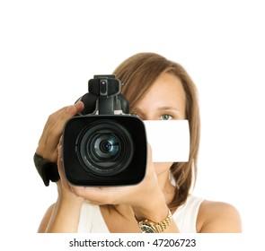 filming (focus on lens)