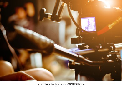 Filming with professional camer, Film Crew. - Shutterstock ID 692808937