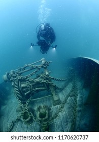 filming ship wreck underwater photography