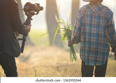 The filmmaker is recording and broadcasting life of farmer on stabilizer camcorders. Professional Video Recording