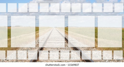 Filmstrip Type Frame with train tracks background