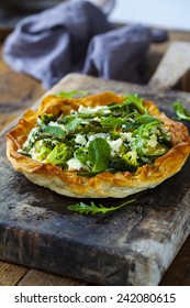 Filo pastry with asparagus, broccoli and zucchini