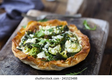 Filo pastry tart with courgette, broccoli and asparagus tips