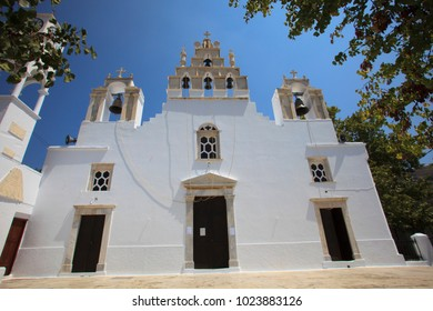 Filoti, Naxos / Greece - August 25, 2014: The Filoti church in Naxos, Cyclades Islands, Greece