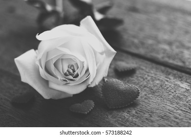 Filter in black white rose flower with love heart on wooden background.