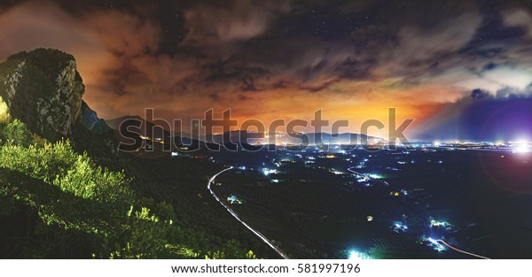 Filtered - Night Panorama On Granato's Old Church