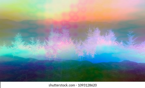 A filtered psychedelic mountain landscape.