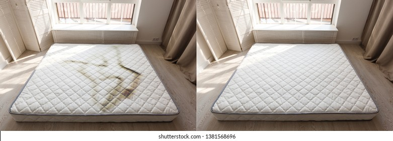 Filthy bed mattress in low cost hotel