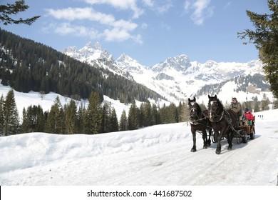 Filzmoos, Austria - March 15 2015: People in a horse sleigh in austria