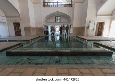 FIN, IRAN - 11 OCTOBER 2015: View of the Fin Garden or Fin Bagh near the persian city of Kashan. Water is one of the key elements in the persian gardens.