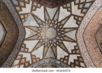 FIN, IRAN - 11 OCTOBER 2015: Detail of the intricate and refined decoration in the ceilings of the buildings in the Fin garden, near the persian city of Kashan.