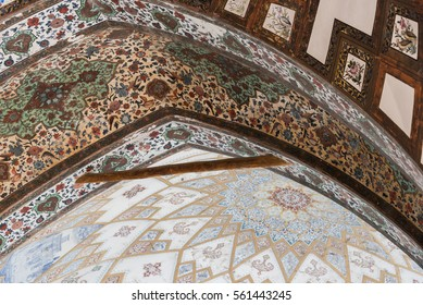 FIN, IRAN - 11 OCTOBER 2015: A detail of the intricate decoration in the ceiling of one of the buildings in the persian Fin Garden.
