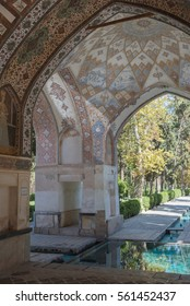 FIN, IRAN - 11 OCTOBER 2015: A view of one of the fish ponds in the Persian Fin Garden where the intricate cupola decoration is visible.