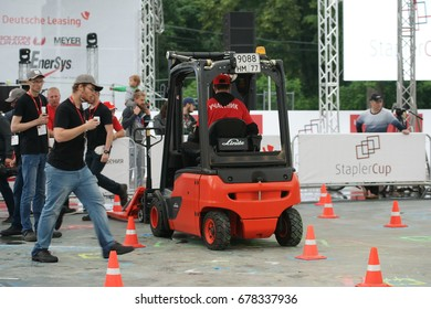 Final of the All-Russia competitions StaplerCup, forklift tournament. Russia, Moscow, July 13, 2017, the Sokolniki Park.