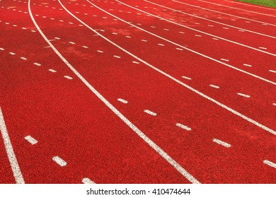 The final curve on the track.  Track and Field.