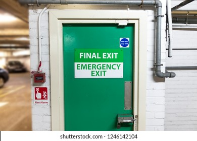final exit emergency green door car park