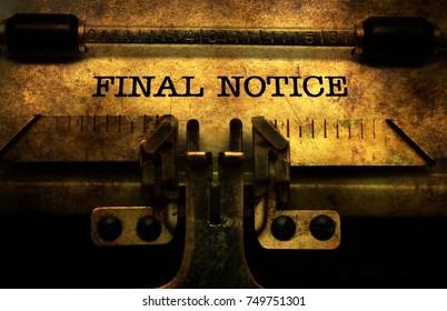 Final notice in typewriter