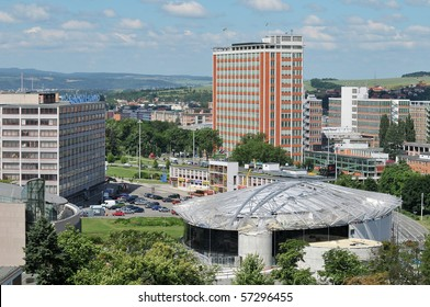 The final stage of construction of convention center ,Zlin skyline