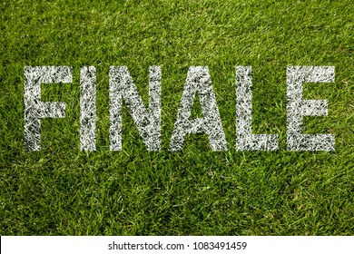 """Final"" (written in german) on soccer meadow"