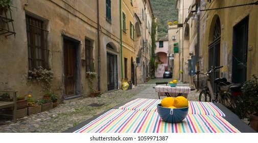 Finalborgo, Savona Italy. April 02, 2018. Streets of ancient town