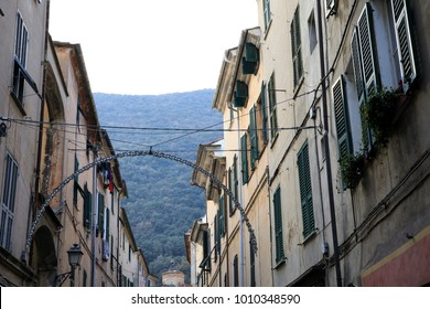 Finalborgo (SV), Italy - December 12, 2017: A typical house in Finalborgo village, Finale Ligure, Liguria, Italy