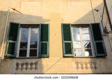 Finalborgo (SV), Italy - December 12, 2017: A typical windows in Finalborgo village, Finale Ligure, Liguria, Italy