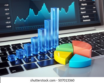 Finance, Accounting, Online Banking and Mobile office concept - Financial charts on laptop keyboard. 3d illustration