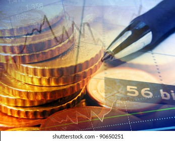 Finance background with coins and graph.